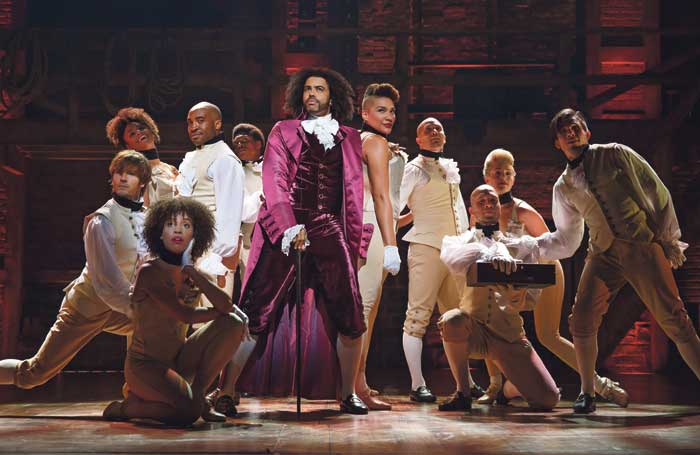 The Broadway show Hamilton is pointedly diverse. Photo: Joan Marcus