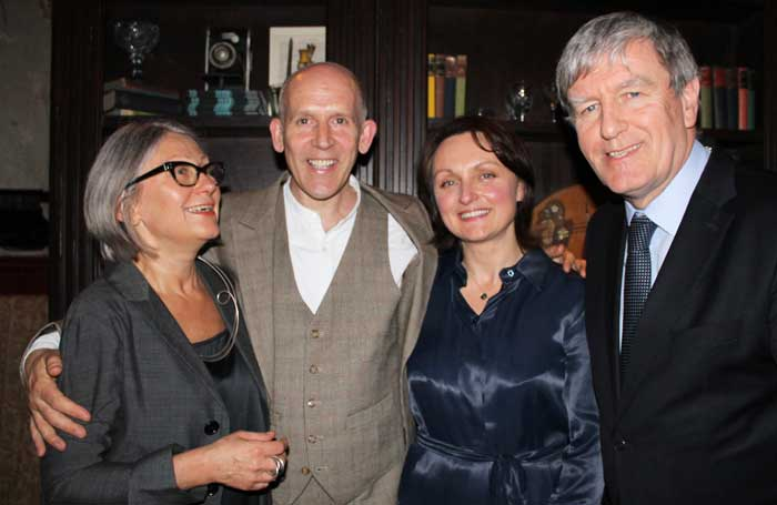 Artisitic director Anda Winters, cast member Conor Lovett, director Judy Lovett, and Irish ambassador Daniel Mulhall. Photo: Veronica Humphris
