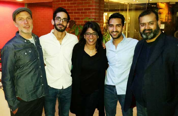 Cast members Daniel Lapaine, Sid Sagar, Parth Thakerar and Tony Jayawardena with director Indhu Rubasingham (centre)