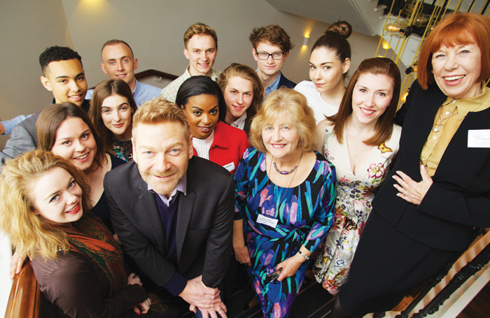 Award presenter Kenneth Branagh (centre, left) with the Royal Victoria Hall Foundation's clerk Carol Cooper, and chair Valerie Colgan (far right), with the winners of this year's awards. Photo: Pierre Marcar
