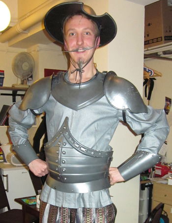 Hemley, pictured here preparing for his role in Spamalot, has previous musical theatre experience, and is renowned for his Gloria Estefan interpretations.