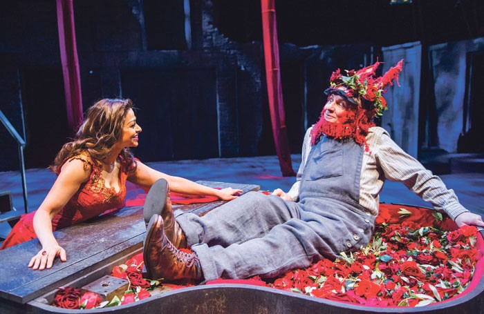 The Royal Shakespeare Company's A Midsummer Night's Dream – A Play for the Nation featured amateur performers as the Mechanicals, including Chris Clarke as Bottom, alongside professionals including Ayesha Dharker. Photo: Tristram Kenton