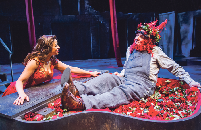 Professional actor Ayesha Dharker with Chris Clarke, who was part of the community cast in the Royal Shakespeare Company's A Midsummer Night's Dream – A Play for the Nation in February. Photo: Tristram Kenton