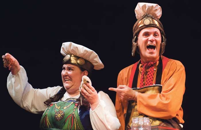 Alison Fitzjohn and Neal Foster in Horrible Histories at the Garrick Theatre, London. Photo: Jane Hobson