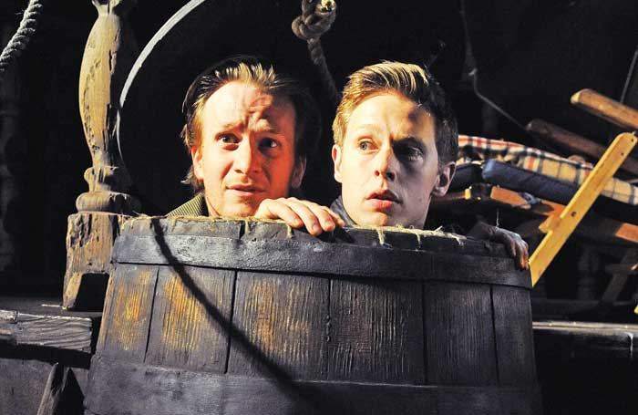Parker with Samuel Barnett in Rosencrantz and Guildenstern Are Dead at Theatre Royal Haymarket in 2011. Photo: Tristram Kenton