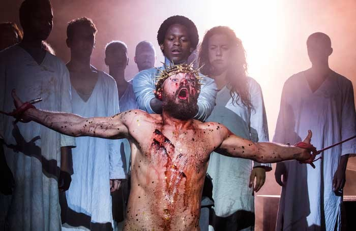Declan Bennet (front) and Tyrone Huntley (back, centre) in Jesus Christ Superstar. Photo: Tristram Kenton