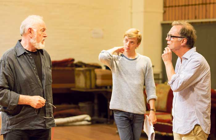 Jonathan Kent (right) with in Peter Egan and Joshua James in rehearsals for the Chekhov season at the National Theatre. Photo: Johan Persson