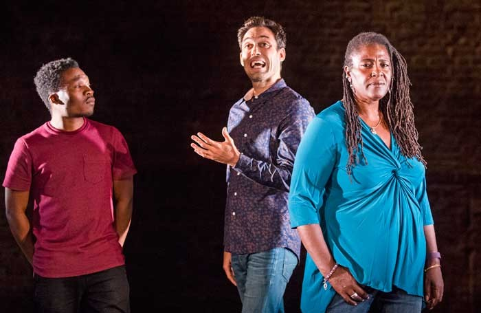 Fisayo Akinade, Alex Hassell and Sharon D Clarke in Pigs and Dogs at the Jerwood Theatre Downstairs. Photo: Tristram Kenton