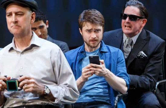 Daniel Radcliffe (centre) in Privacy. Photo: Joan Marcus