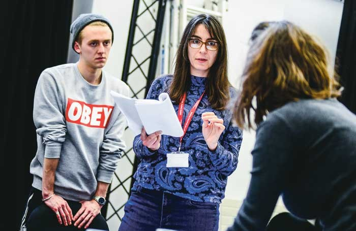 Final-year students at Royal Welsh College of Music and Drama rehearsing All That I Am with director Adele Thomas. Photo: Kirsten McTernan