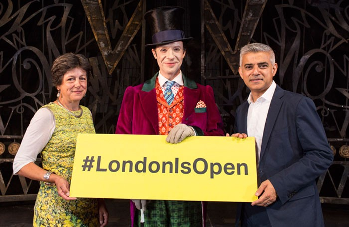 Sadiq Khan with cast members from Charlie and the Chocolate Factory. Photo: Helen Maybanks
