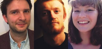 The Stage Critic Search 2016 grand finalists, Will Thomas, Fergus Morgan and Kate Wyver