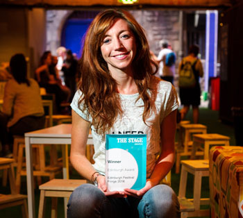 Nancy Sullivan, who's prize was presented for her turn in Fabric at Underbelly. Photo: Alex Brenner