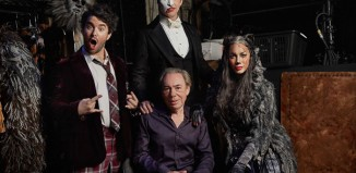 Andrew Lloyd Webber with the stars of School of Rock, The Phantom of the Opera and Cats. Photo: Nathan Johnson