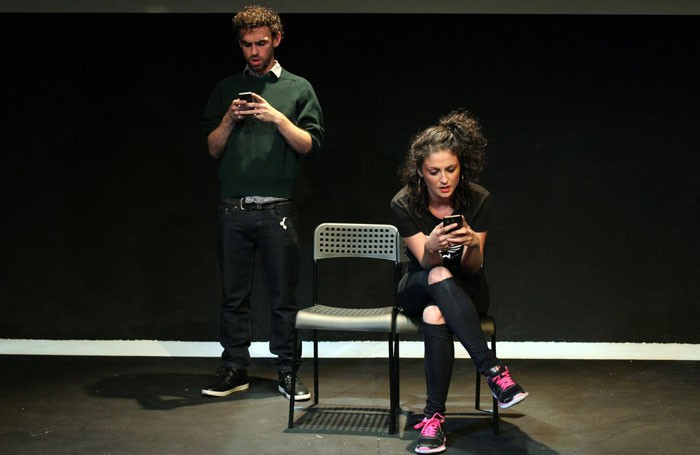 Declan Perring and Nadia Hynes in Screens at Theatre503. Photo: Pank Sethi