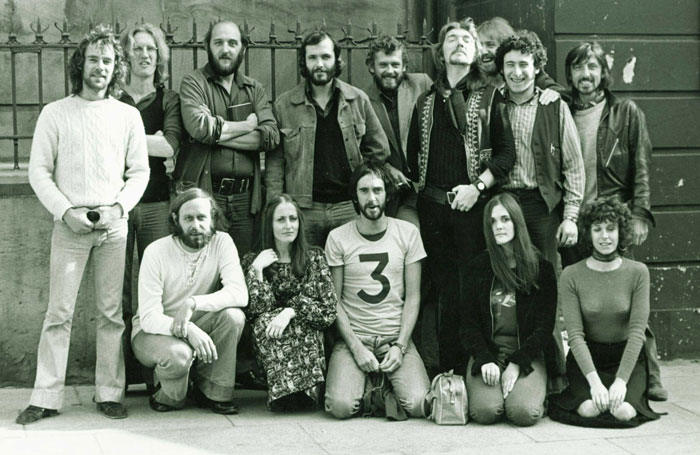 Full company outside the Everyman Theatre in September 1971. Dossor is fifth from left
