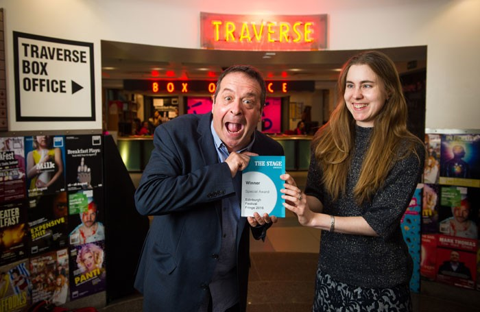 Mark Thomas is presented with The Stage Special Award by reviews editor Natasha Tripney. Photo: Alex Brenner