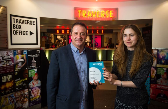 Mark Thomas was presented with the award by Natasha Tripney, The Stage reviews editor. Photo: Alex Brenner