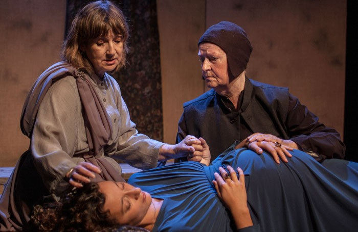 Alice Allemano, Jane Goddard and Mary McCusker in Queen Lear at Assembly Roxy, Edinburgh. Photo: Adam Toussaint