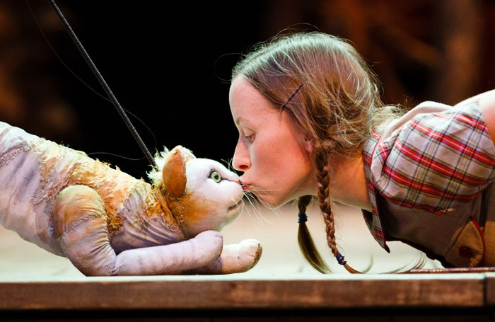 Tips the Cat and Katy Owen in 946: The Amazing Story of Adolphus Tips at Shakespeare's Globe. Photo: Steve Tanner