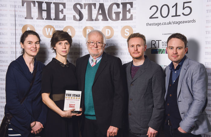 Emma Chapman and Lucy Osborne with Richard Pilbrow, Gavin Green and James Grieve at The Stage Awards in 2015, where Roundabout won theatre building of the year. Photo: Alex Brenner