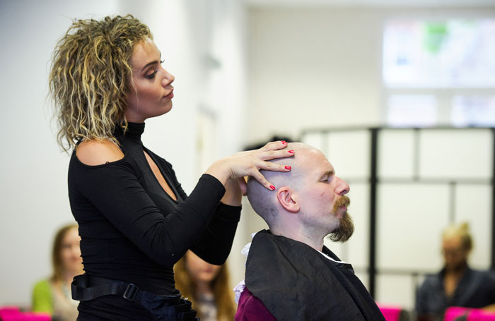 Stephanie Siadatan and Dominic Morgan in Foiled at Ruby Rouge Hair Salon, Edinburgh. Photo: Alex Brenner