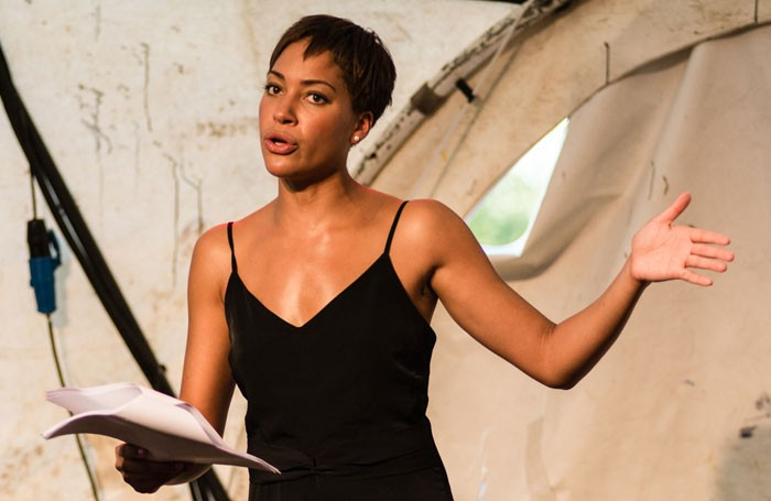 Cush Jumbo in White Rabbit Red Rabbit at the Good Chance Dome, London. Photo: Sarah Hickson