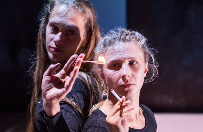 Maryia Sazonava and Maria Alyokhina in Burning Doors at Soho Theatre. Photo: Tristram Kenton