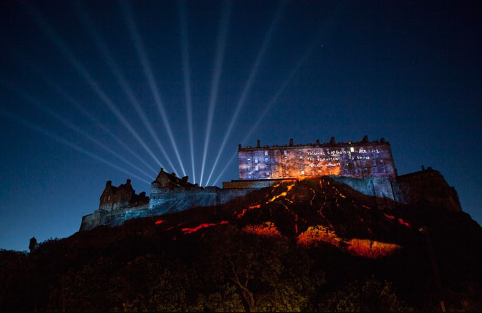 59 Productions' Deep Time event at Edinburgh Castle, which opened the Edinburgh International Festival. Photo: Leo Warner