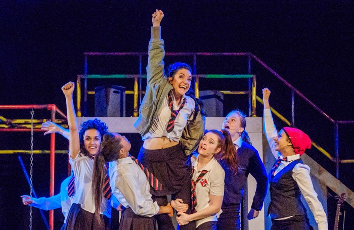 The cast of Glasgow Girls at Theatre Royal Stratford East, London. Photo: Andrew Wilson