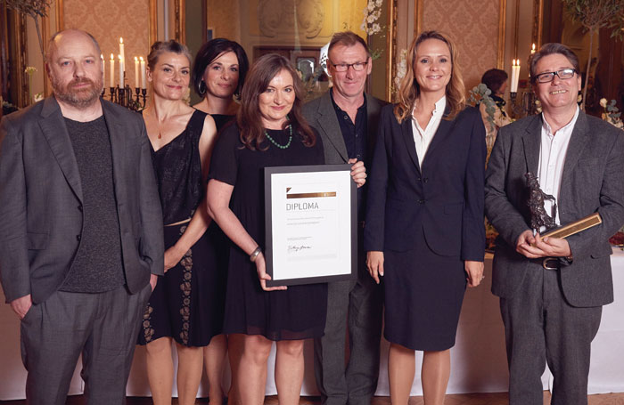The International Ibsen Award went to Forced Entertainment (below left) – pictured from left are artistic director Tim Etchells, Cathy Naden, Claire Marshall, Terry O'Connor, Richard Lowdon, Norwegian minister of culture Linda Cathrine Hofstad Helleland and Robin Arthur. Photo: Oyvind Eide
