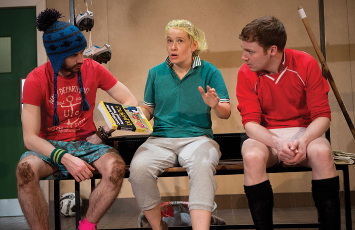 Vivienne Gibbs (centre) won her part in Jumpers for Goalposts (a Paines Plough co-production with West yorkshire Playhouse and Hull Truck Theatre), which toured in 2013, via an open audition. Photo:  Elyse Marks