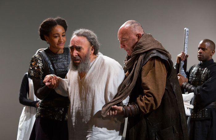 Natalie Simpson, Antony Sher and Antony Byrne in King Lear at the Royal Shakespeare Theatre, Stratford-upon-Avon. Photo: Ellie Kurttz