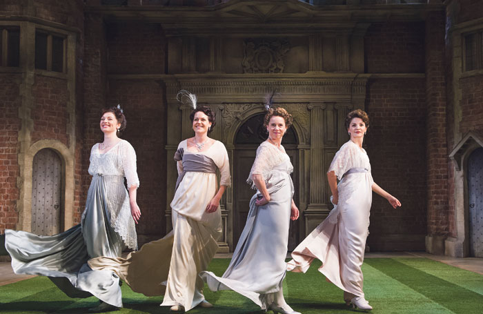 Frances McNamee, Leah Whitaker, Michelle Terry and Flora Spencer-Longhurst in Love's Labour's Won in 2014. Photo: Tristram Kenton