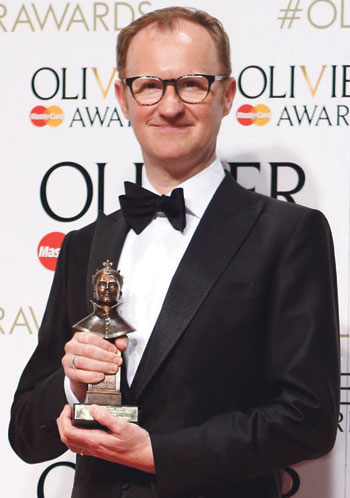 Gatiss with his Olivier award for best supporting actor for Three Days in the Country. Photo: Pamela Raith