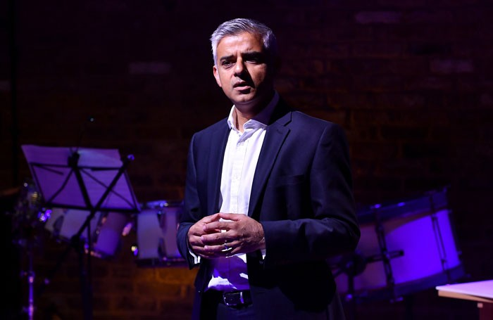 Sadiq Khan speaking at the opening of Tara Theatre. Photo Gareth Cattermole/Getty Images