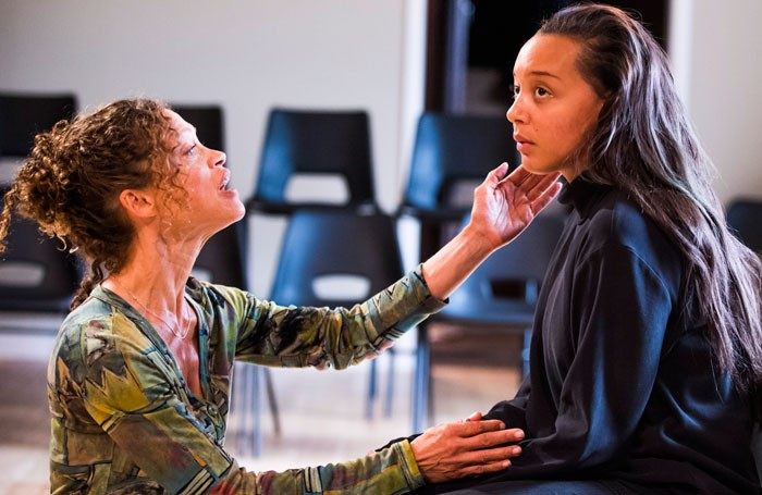 Indra Ove and Adelle Leonce in Torn at the Jerwood Theatre Upstairs. Photo: Tristram Kenton