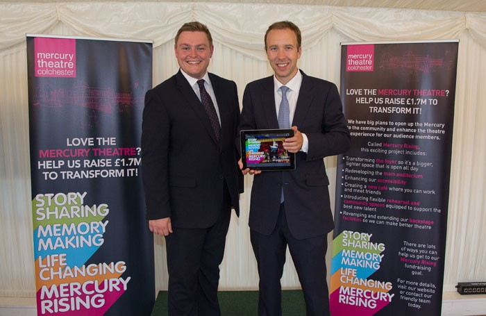 Will Quince and Matt Hancock at the launch of the fundraising campaign for Colchester's Mercury Theatre. Photo: Sally Parkinson