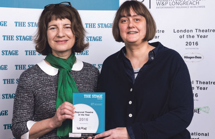 Frankcom accepting The Stage's Regional Theatre of the Year award for the Royal Exchange earlier this year with the venue's former executive director Fiona Gasper. Photo: Alex Brenner