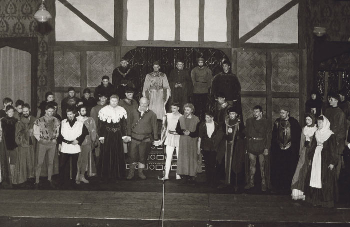 Cast of Henry V at the curtain call in 1956 at Toynbee Hall,