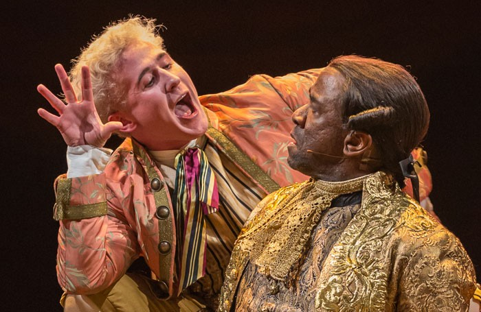 Adam Gillen and Lucian Msamati in Amadeus at the National Theatre. Photo: Marc Brenner