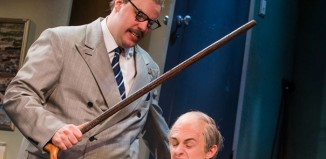 Henry Lewis and Jonathan Sayer in Mischief Theatre's The Comedy About A Bank Robbery. Photo: Tristram Kenton