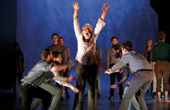 David Hargreaves (centre) and the Bristol Old Vic Theatre School company in King Lear. Photo: Simon Annand