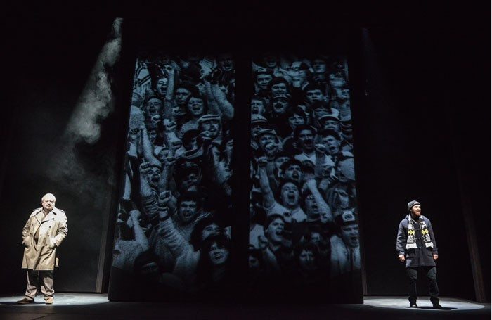 David Fleeshman and Jonathan Woolf in Darkness, Darkness at Nottingham Playhouse. Photo: Robert Day