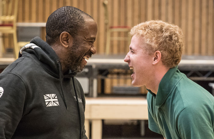 Lucian Msamati and Adam Gillen in rehearsals for Amadeus. Photo: Marc Brenner