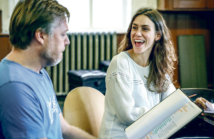 Shaun Dooley and Emily Bruni in rehearsal for Lunch. Marc Brenner