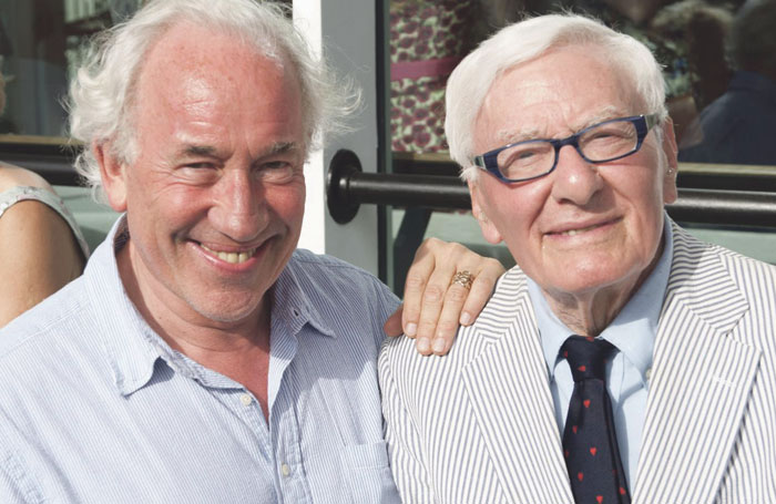 Callow with Peter Shaffer after a performance of Amadeus at Chichester Festival Theatre in 2014. Photo: David Jenson