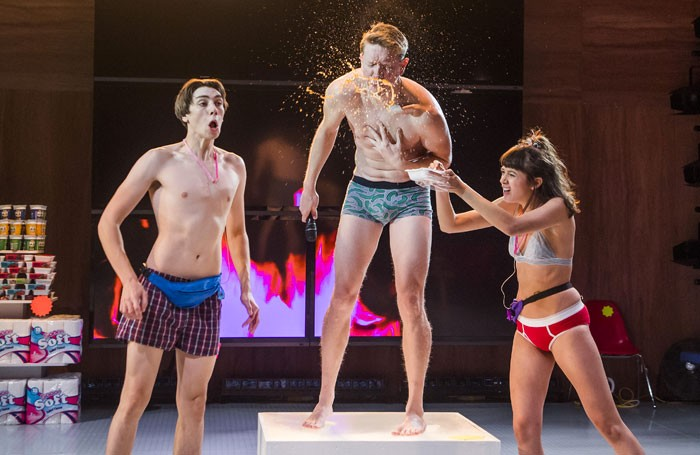 Alex Arnold, Sam Spruell and Sophie Wu in Shopping and Fucking at the Lyric Theatre, Hammersmith. Photo: Tristram Kenton