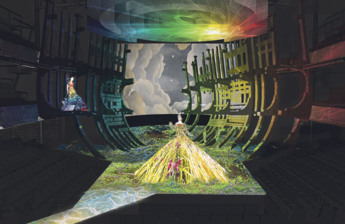 "Brimson Lewis' design for the masque scene, including (top) the circular screens that spiral down to form ""the cloud"""