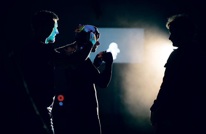 Mark Quartley rehearsing as Ariel. Photo: Topher McGrillis